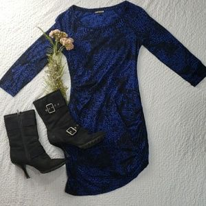 EXPRESS royal blue black cotton mini dress size XS
